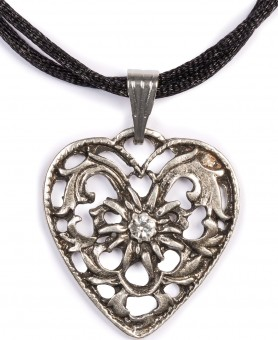 Dirndl Necklace - Bavarian Oktoberfest - Satin String - Heart with Stone, black