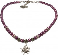 Vorschau: Trachtenkette kleines Edelweiß lila