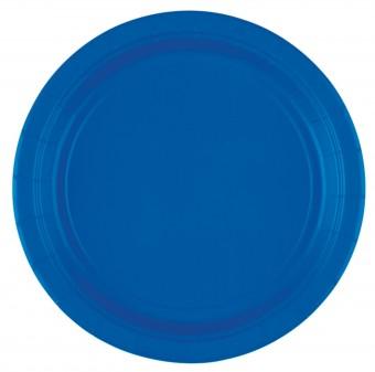 8 blaue Pappteller 17,7cm