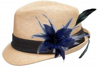 Strohhut Resi mit Federbrosche blau