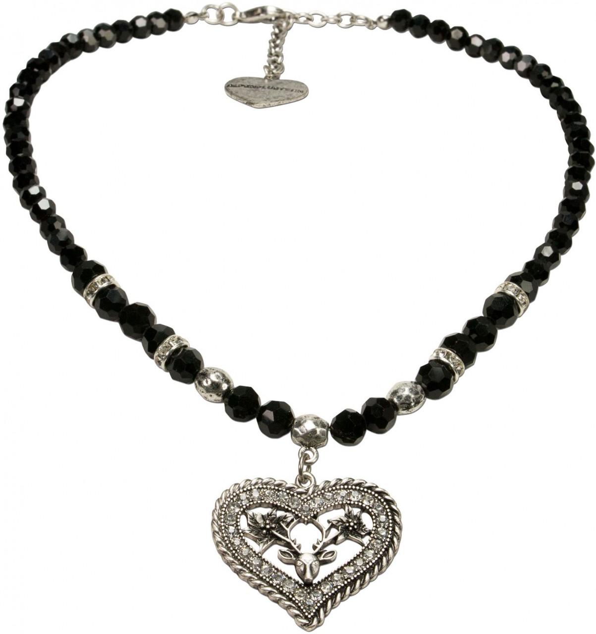 Strassherz Perlenhalskette schwarz