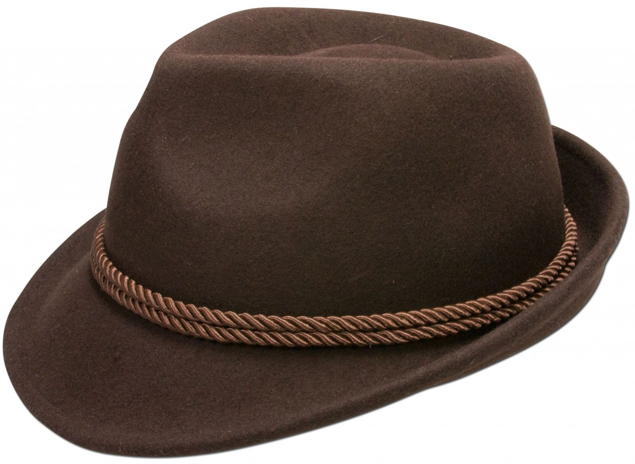 Traditional felt hat with cord brown