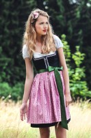 Emma Rosa Black dirndl with a pink apron
