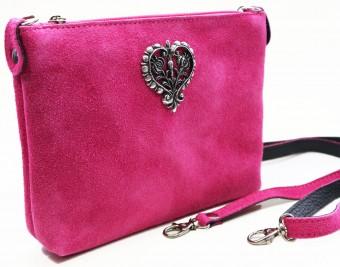 Wildledertasche Herz pink