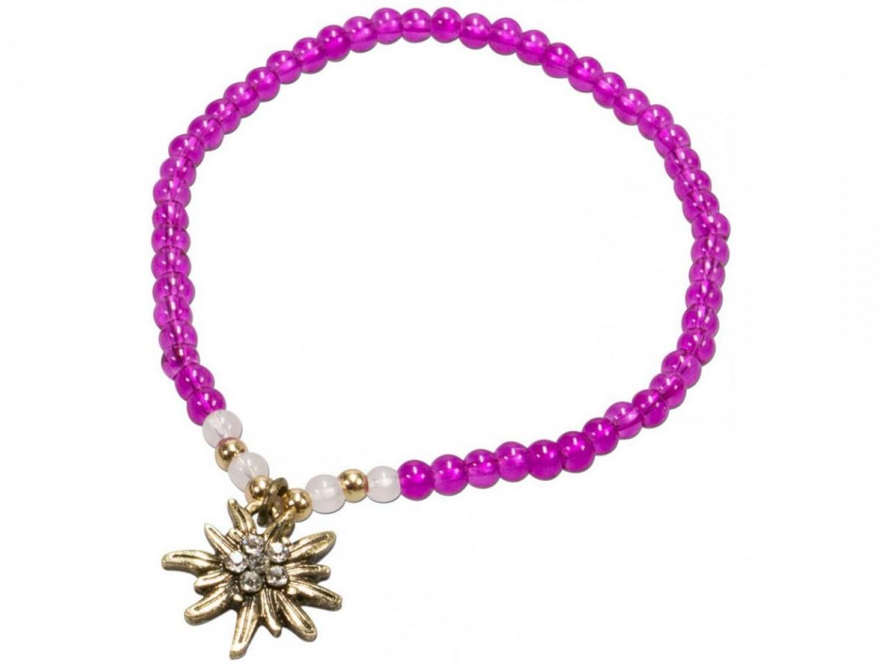 Trachten Perlenarmband Edelweiß pink