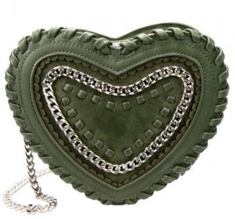Herzförmige Trachtentasche grün