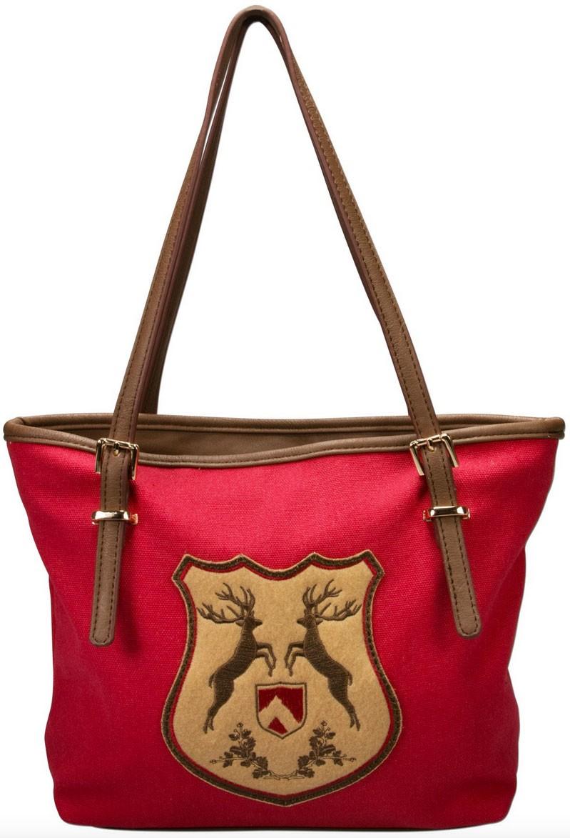 Trachten Handtasche mit Hirschwappen rot