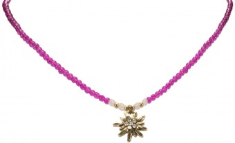 Pearl Necklace with Edelweiss Pendant, Pink