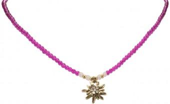 Perlenhalskette Strass-Edelweiß pink