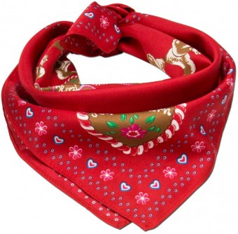 Nicki Trachten Scarf with Squirrel Emblem, Red