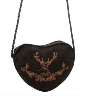 Heart-shaped traditional purse deer & oak leaves black