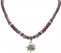 Vorschau: Perlenhalskette kleines Edelweiß lila