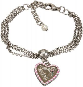 Tradycyjna bransoletka piernikowe serce różowe