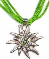 Preview: Satin Edelweiss Necklace, Apple Green