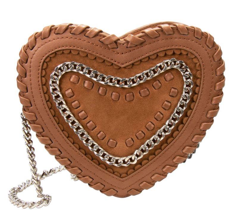 Herzförmige Trachtentasche cognac