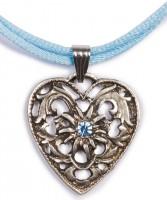 Vorschau: Herzkette mit Stein und 2 Satinbändern, hellblau