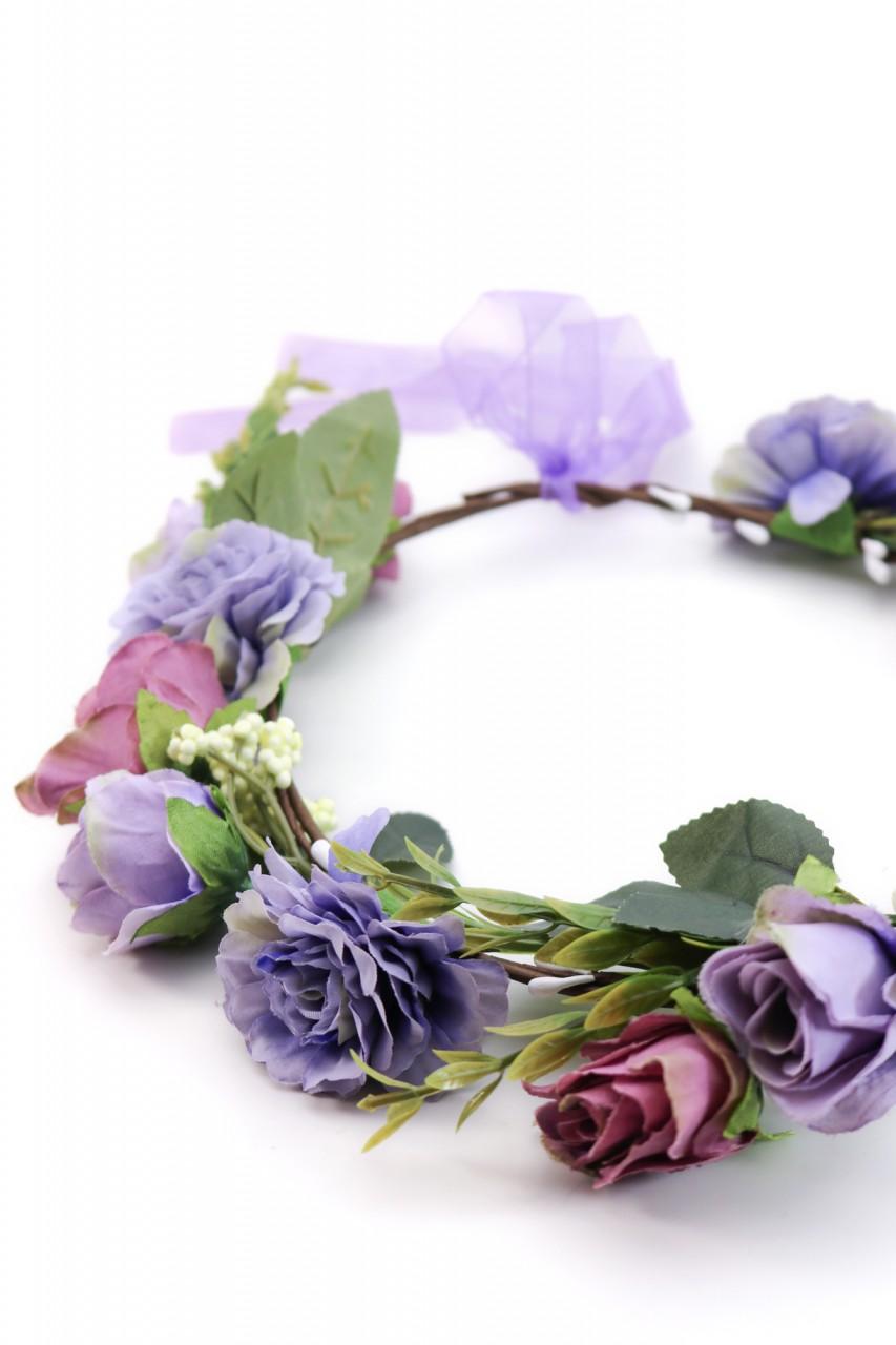 Wieniec do włosów z fioletowymi kwiatami