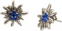 Mini-Trachten-Ohrstecker Edelweiß blau