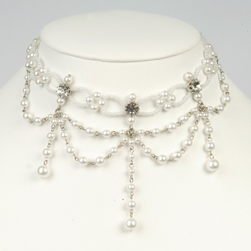 Perlen-Collier weiß