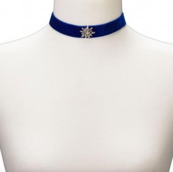 Samtkropfband breit mit Edelweiß blau