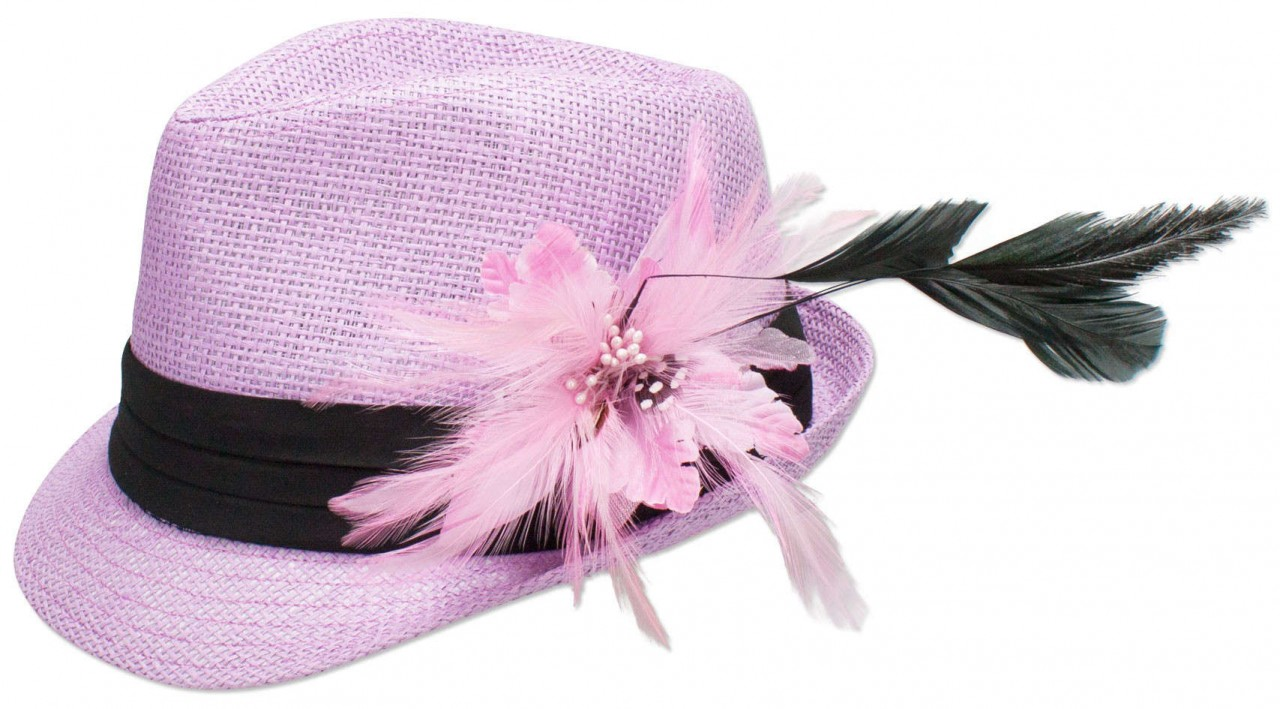 Straw hat Hannah with feather brooch pink