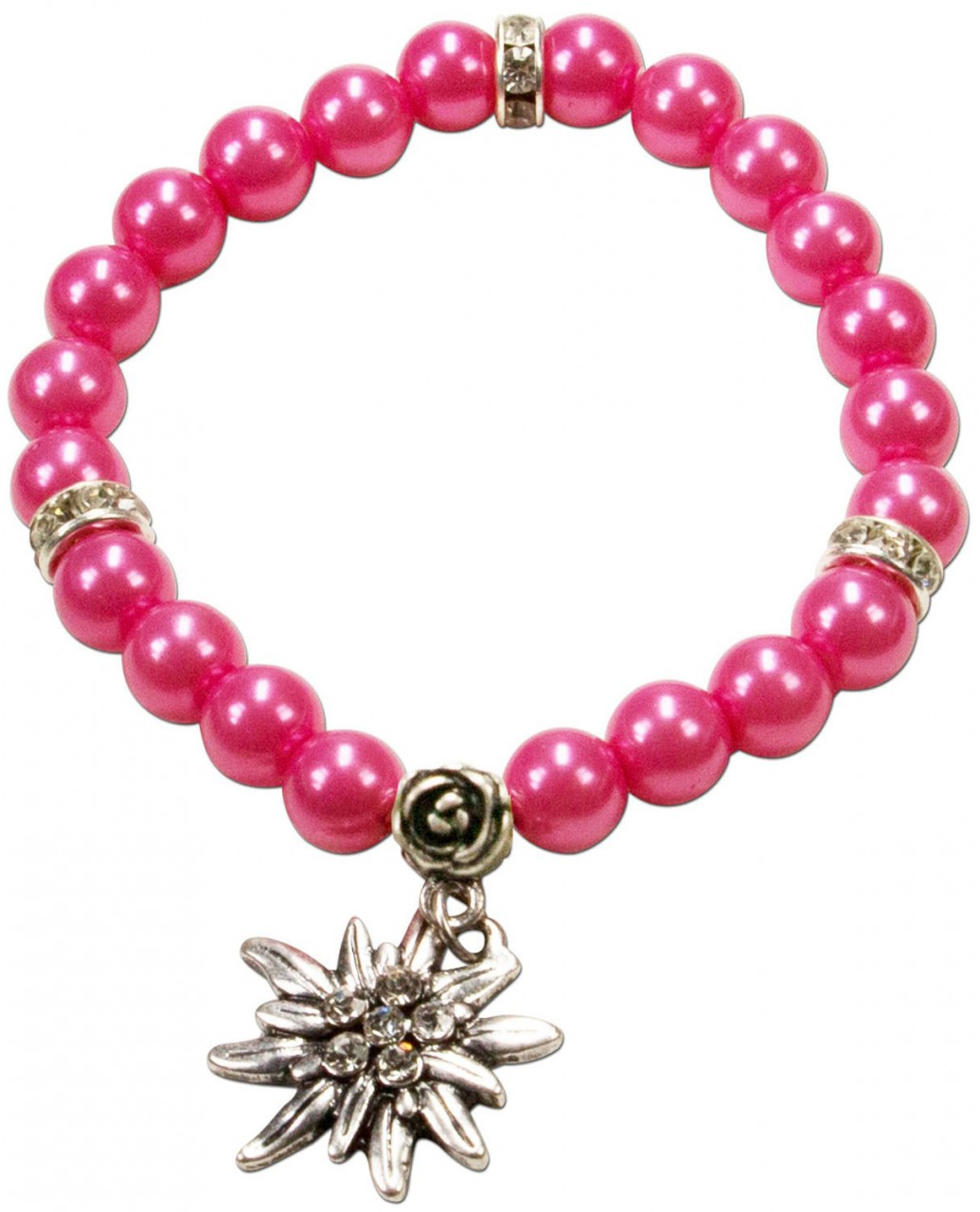 Perlenarmband Laura Edelweiß pink
