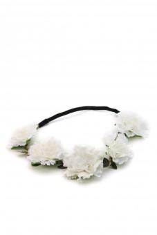 weißes Blütenhaarband