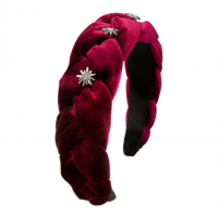 Vorschau: Samt-Haarreif Flechtoptik dunkelrot