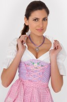 3-piece purple gingham dirndl with floral embroidery