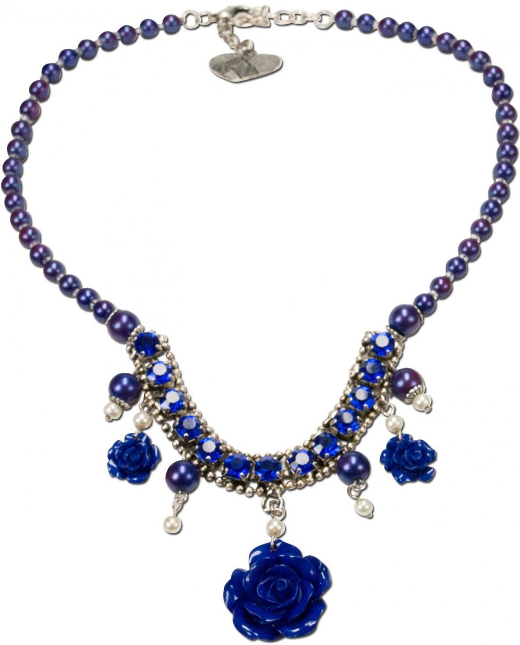 Perlenkette Blütentraum blau