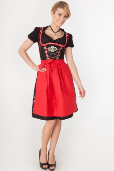 3-piece black midi dirndl with black blouse