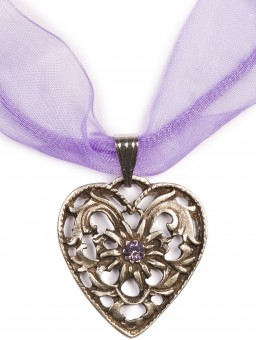 Dirndl Necklace - Bavarian Oktoberfest - Heart with Stone, purple