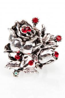 Trachten-Fingerring Rosen rot