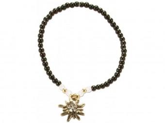 Trachten Perlenarmband Edelweiß schwarz