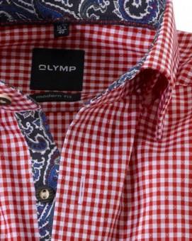 Olymp Hemd Trachtenhemd rot/weiss Kariert