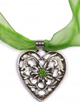Chiffonband Herzkette mit Stein, apfelgrün