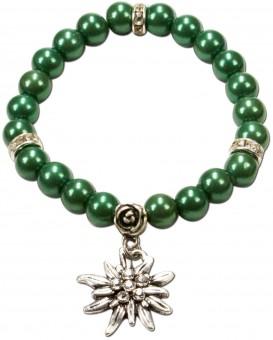 Bransoletka perłowa Laura Edelweiss zielona