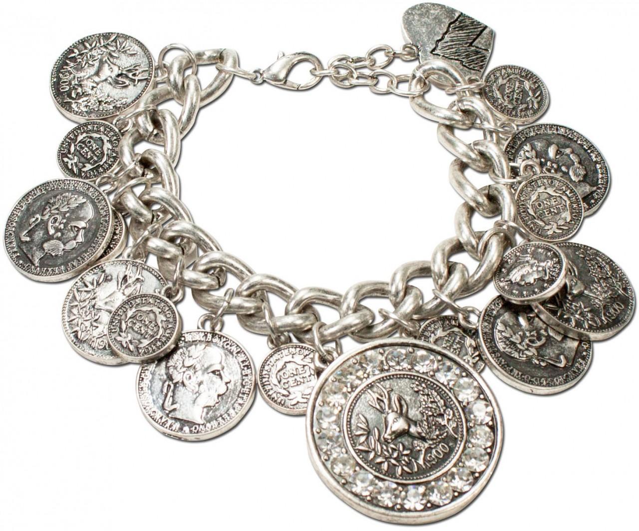 Münz-Armband Glitzerhirsch altsilber