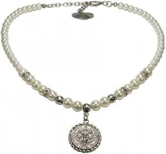 Münz-Perlenkette Lea cremeweiß