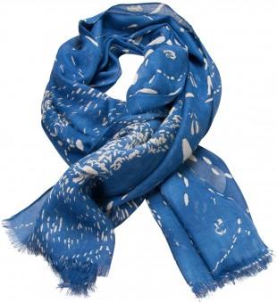 Trachtenschal Schneespuren blau