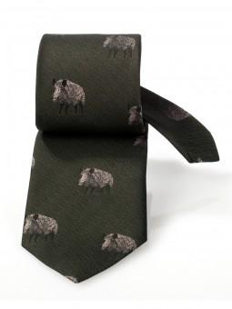 Jagd-Krawatte dunkelgrün Keiler