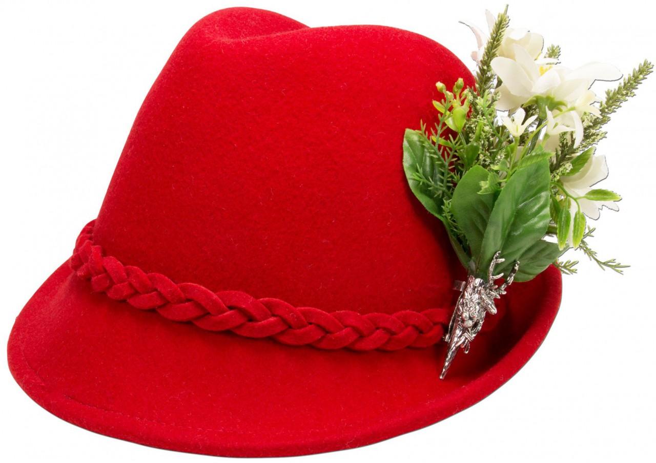 Trachtenhut Filzhut rot Edelweiß