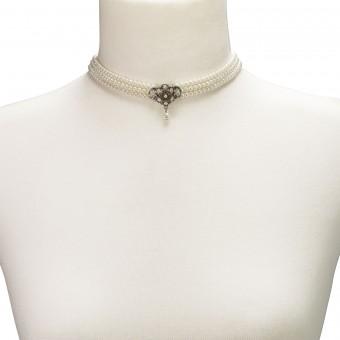 Perlenkropfkette Hannah weiß