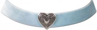 Samtkropfband breit mit Trachtenherz hellblau