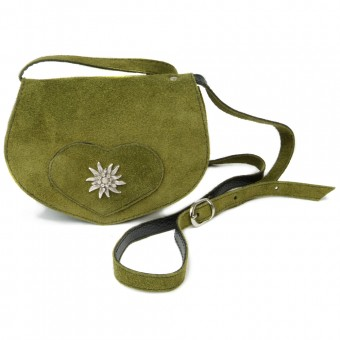 Wildledertasche in Herzform oliv