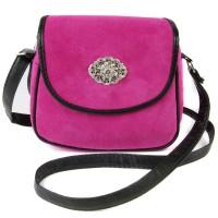 Schultertasche Ramona aus Wildleder pink