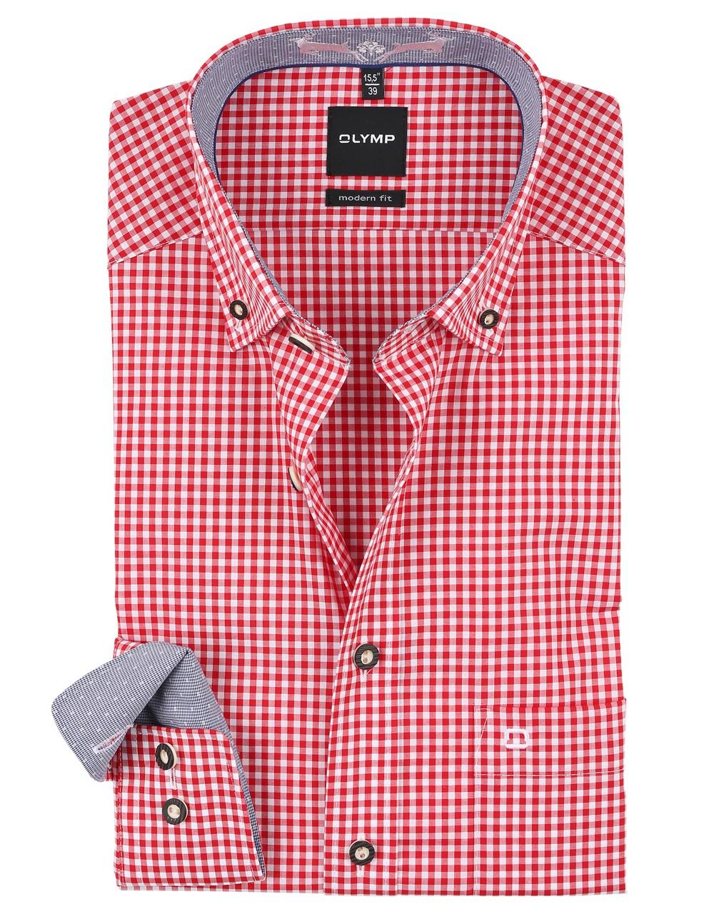 Trachten shirt Olymp rood / wit geruit