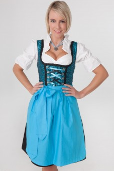 3-piece turquoise dirndl with turquoise apron