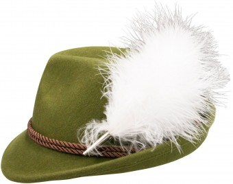 Felt Hat, Plush Feather, Green