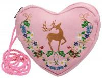Vorschau: Herz Trachtentasche rosa mit Hirsch und Blumenranke